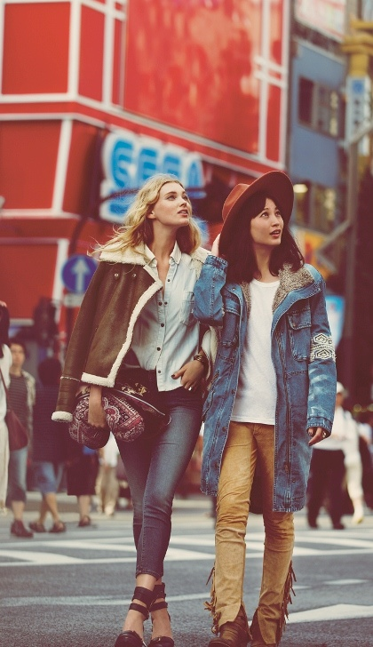 japan fp5 Elsa Hosk & Eimi Kuroda Go to Tokyo for Free People October Catalog