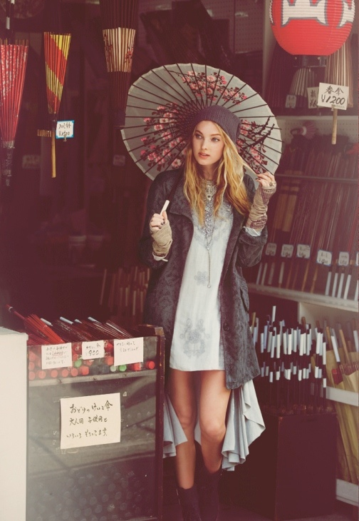 japan fp9 Elsa Hosk & Eimi Kuroda Go to Tokyo for Free People October Catalog