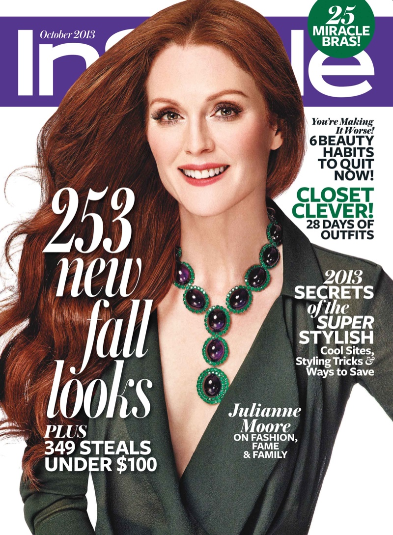 julianne moore covers instyle october 2013 in calvin klein collection. Black Bedroom Furniture Sets. Home Design Ideas