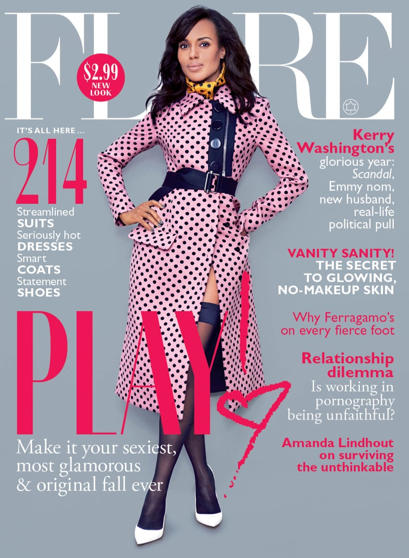 kerry washington1 Kerry Washington Shows Some Leg for FLAREs October 2013 Issue