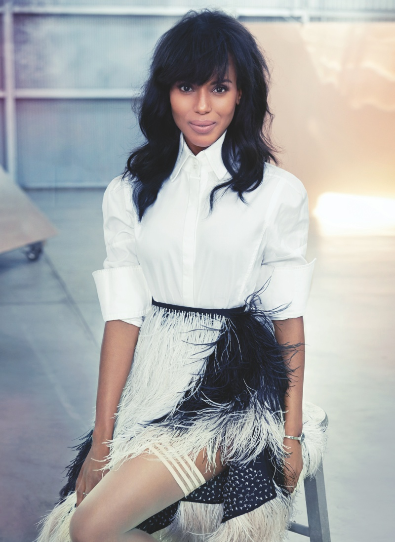 kerry washington2 Kerry Washington Shows Some Leg for FLAREs October 2013 Issue