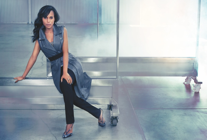 kerry washington4 Kerry Washington Shows Some Leg for FLAREs October 2013 Issue
