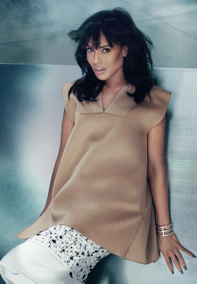 kerry washington5 Kerry Washington Shows Some Leg for FLAREs October 2013 Issue