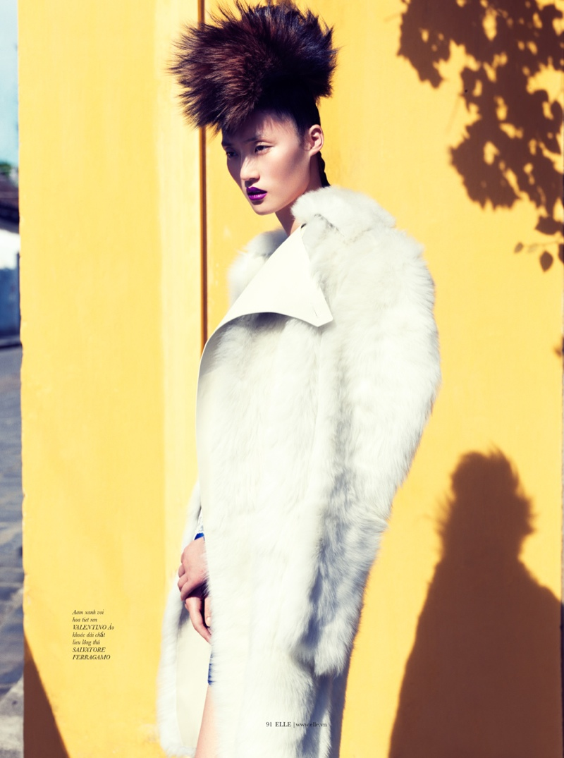 lina zhang elle1 Lina Zhang Wears Luxe Style for Elle Vietnam Shoot by Stockton Johnson
