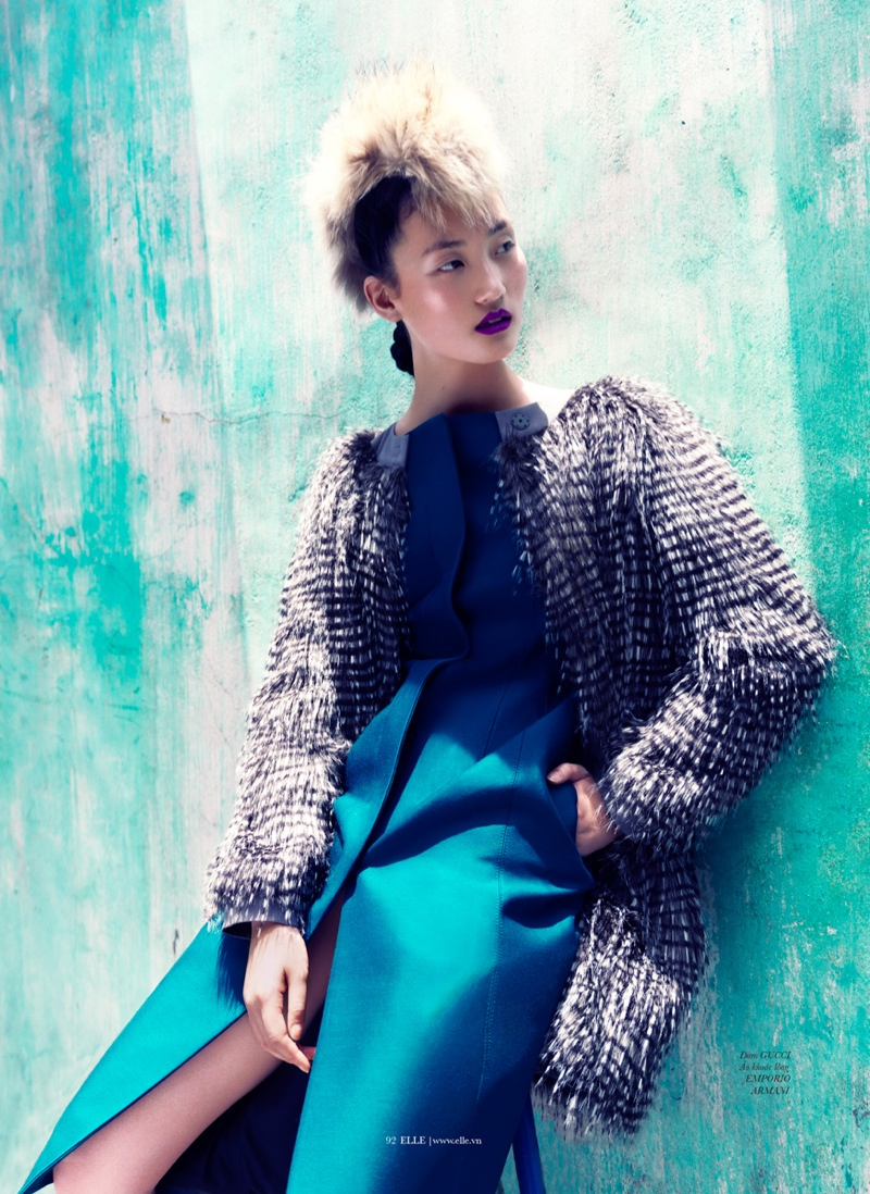 lina zhang elle3 Lina Zhang Wears Luxe Style for Elle Vietnam Shoot by Stockton Johnson
