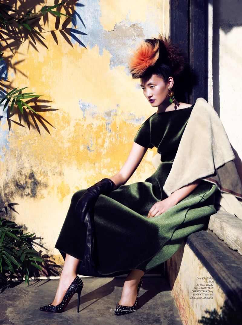 lina zhang elle7 Lina Zhang Wears Luxe Style for Elle Vietnam Shoot by Stockton Johnson