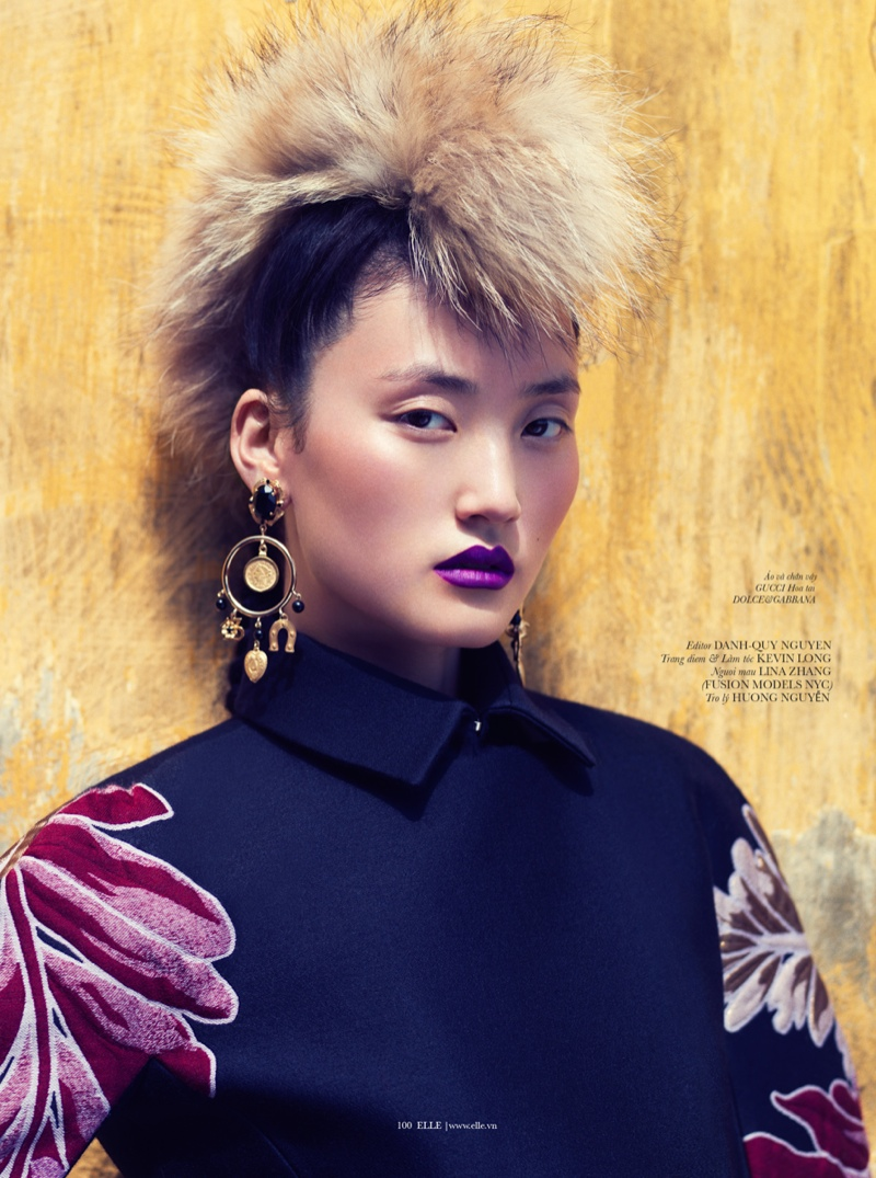 lina zhang elle9 Lina Zhang Wears Luxe Style for Elle Vietnam Shoot by Stockton Johnson