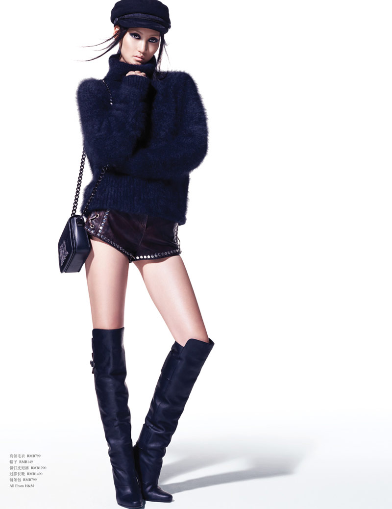 Lina Zhang Models H&M's Paris Collection in Vogue China by Stockton Johnson