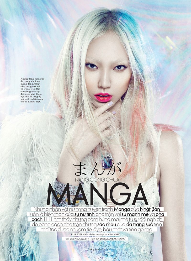 manga elle beauty1 Soo Joo is a Manga Beauty for Elle Vietnam October 2013