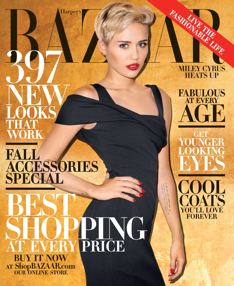 miley cyrus bazaar cover Miley Cyrus Covers Harpers Bazaar October 2013 by Terry Richardson