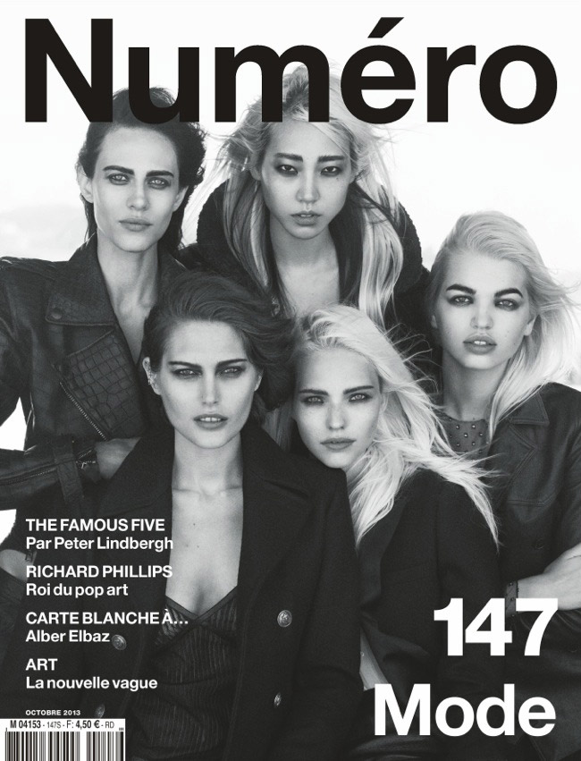 peter lindbergh fab five1 Daphne Groeneveld, Catherine McNeil, Soo Joo + More Pose for Peter Lindbergh in Numero #147