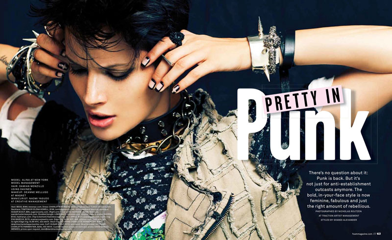 pretty in punk1 Alina is Pretty in Punk for Foams September/October 2013 Issue