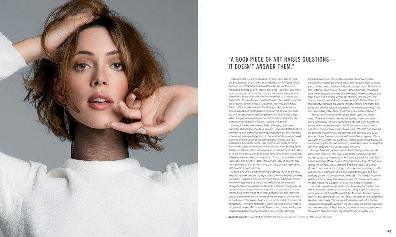 rebecca hall2 800x479 Rebecca Hall Charms in Scene Magazine September 2013 by An Le