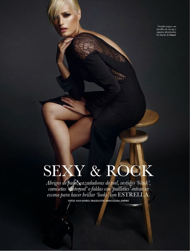 rock xavi gordo2 Yasmin le Bon Poses for Xavi Gordo in Elle Spain October 2013