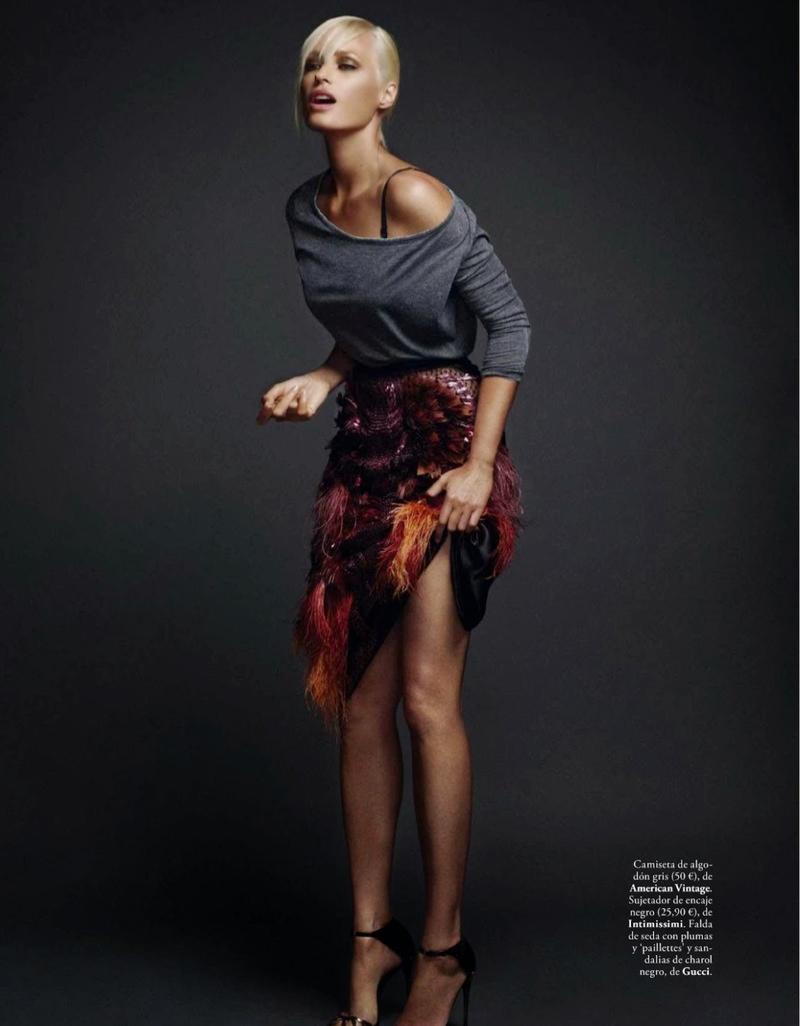 Yasmin le Bon Poses for Xavi Gordo in Elle Spain October 2013