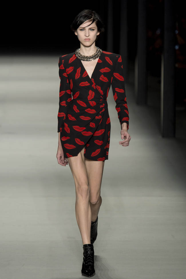 Image: Lip Print Dress at Saint Laurent's spring 2014 runway show