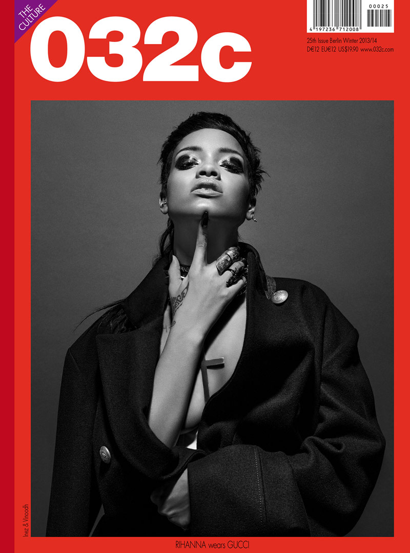 032c rihanna cover Rihanna Graces 032c Fall/Winter 2013 Cover by Inez & Vinoodh