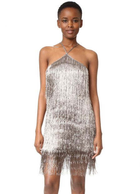 Rachel Zoe Metallic Fringe Dress $495