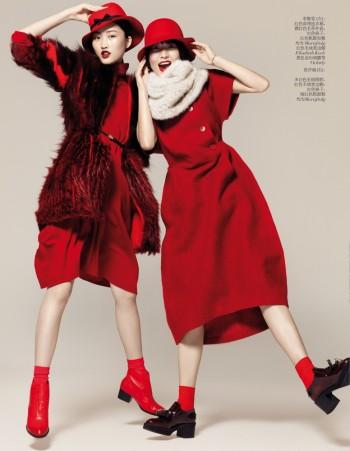 Jing Wen, Xu Chao + Liu Xu Get Playful for Vogue China by Stockton Johnson
