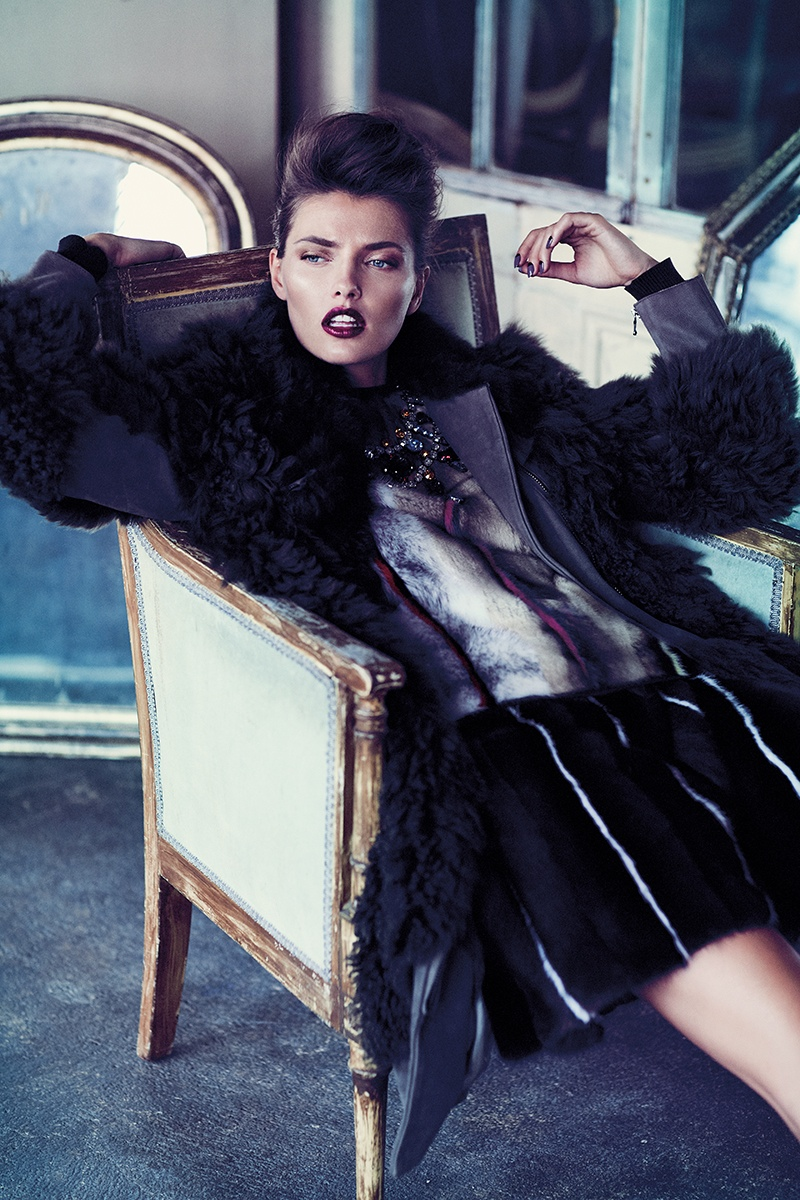 Alina Baikova is Fashionable in Fur for Fashion Shoot by Chris Nicholls