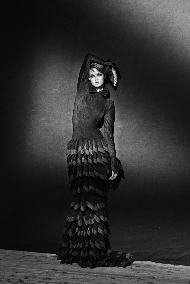 azzedine alaia exhibit14 Lindsey Wixson Poses for Azzedine Alaia Retrospective by Peter Lindbergh