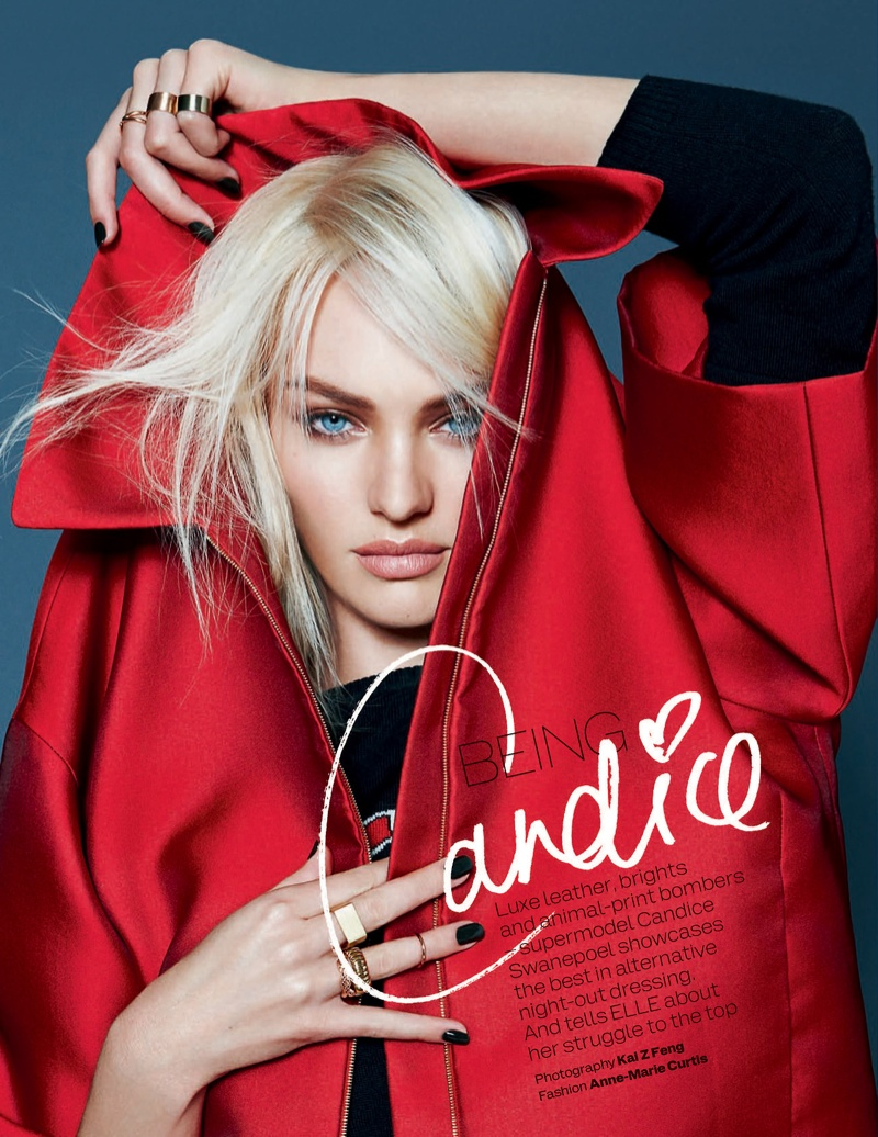 candice kai z feng1 Candice Swanepoel Mixes & Matches for the December Issue of Elle UK