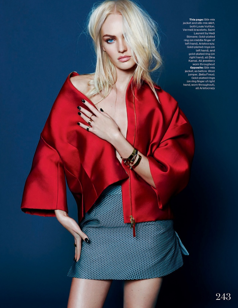 candice kai z feng2 Candice Swanepoel Mixes & Matches for the December Issue of Elle UK