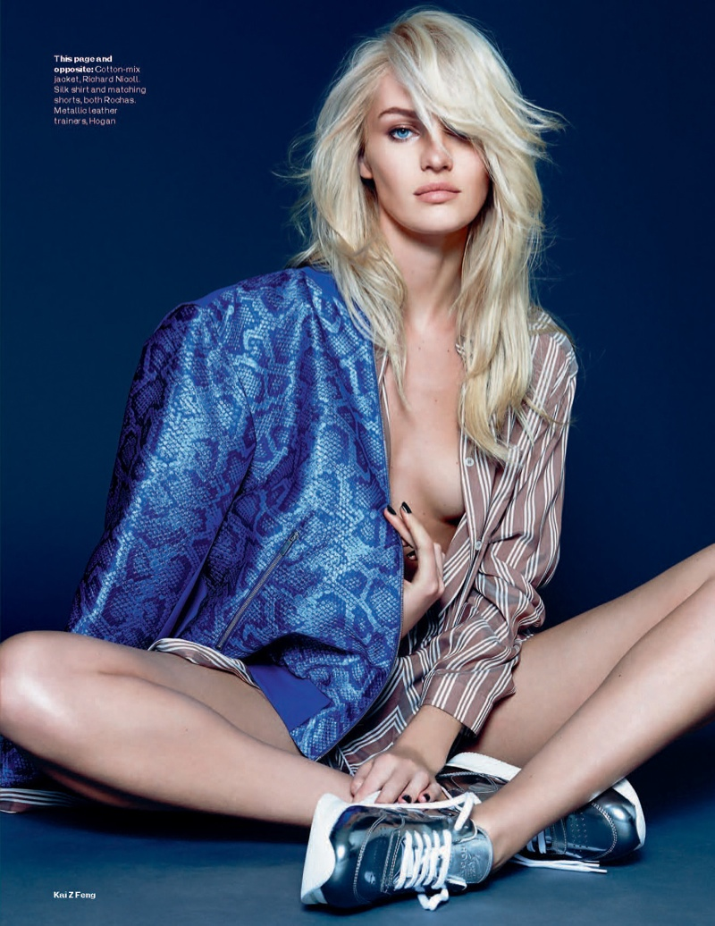 candice kai z feng4 Candice Swanepoel Mixes & Matches for the December Issue of Elle UK