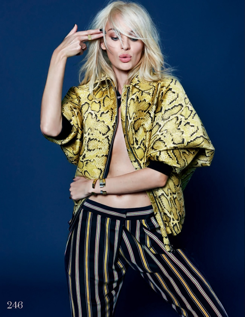 candice kai z feng5 Candice Swanepoel Mixes & Matches for the December Issue of Elle UK