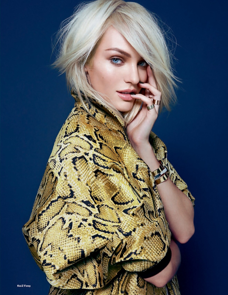 candice kai z feng8 Candice Swanepoel Mixes & Matches for the December Issue of Elle UK
