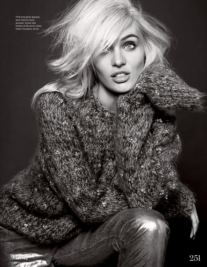candice kai z feng9 Candice Swanepoel Mixes & Matches for the December Issue of Elle UK
