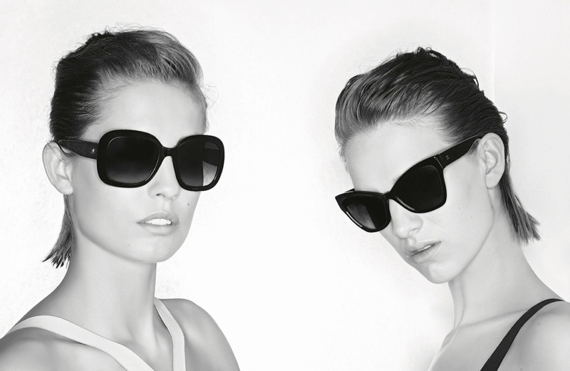 chanel eyewear prestige2 Nadja Bender + Ashleigh Good Front Chanel Prestige Eyewear Ads by Karl Lagerfeld