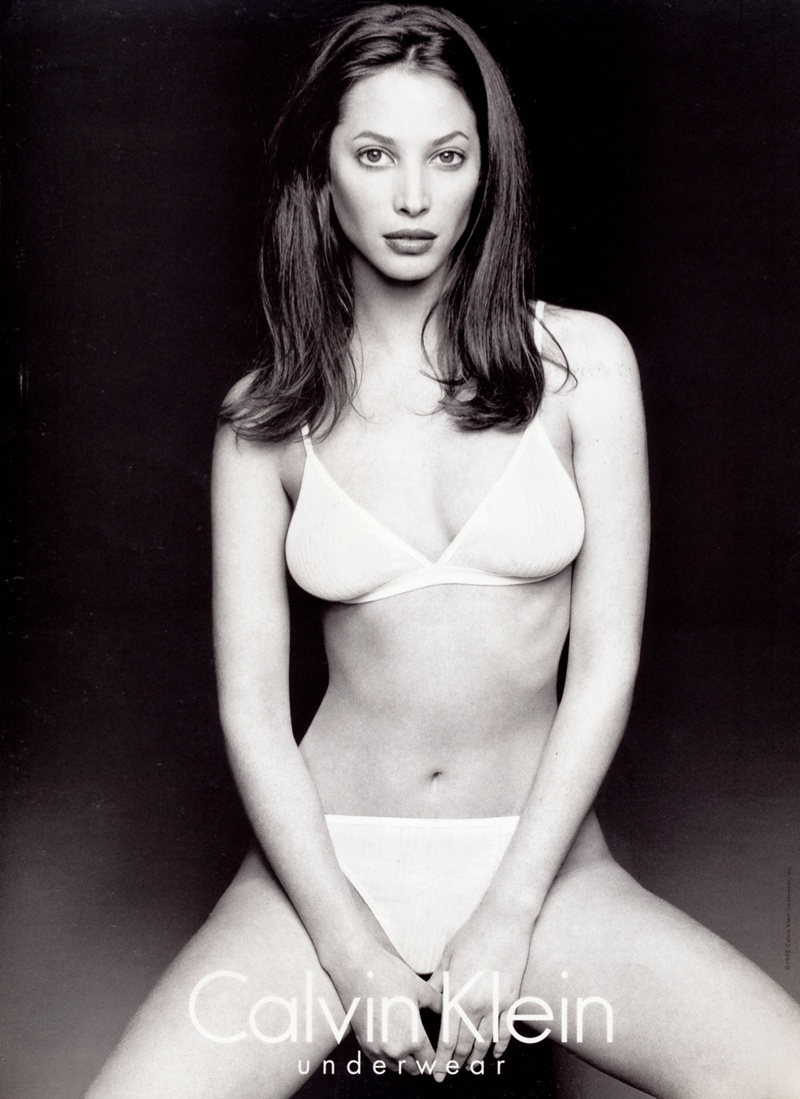 Christy Turlington starred in a 1995 ad from Calvin Klein, posing in black & white