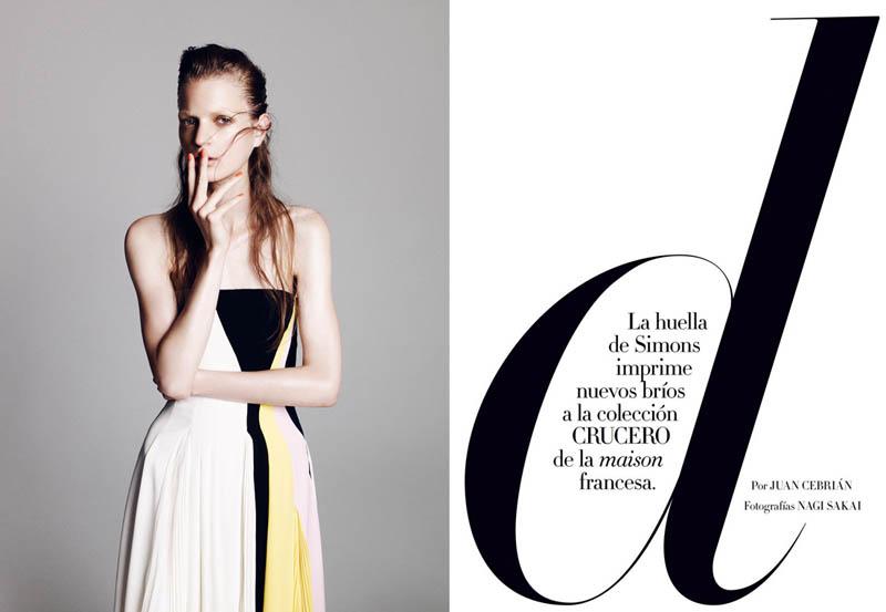 Magdalena Langrova Dons Dior Looks for Nagi Sakai in Harper's Bazaar Spain