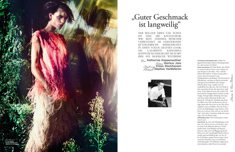 dries van noten clothes1 Corinna Ingenleuf Models Dries van Noten for Interview Germany by Markus Jans