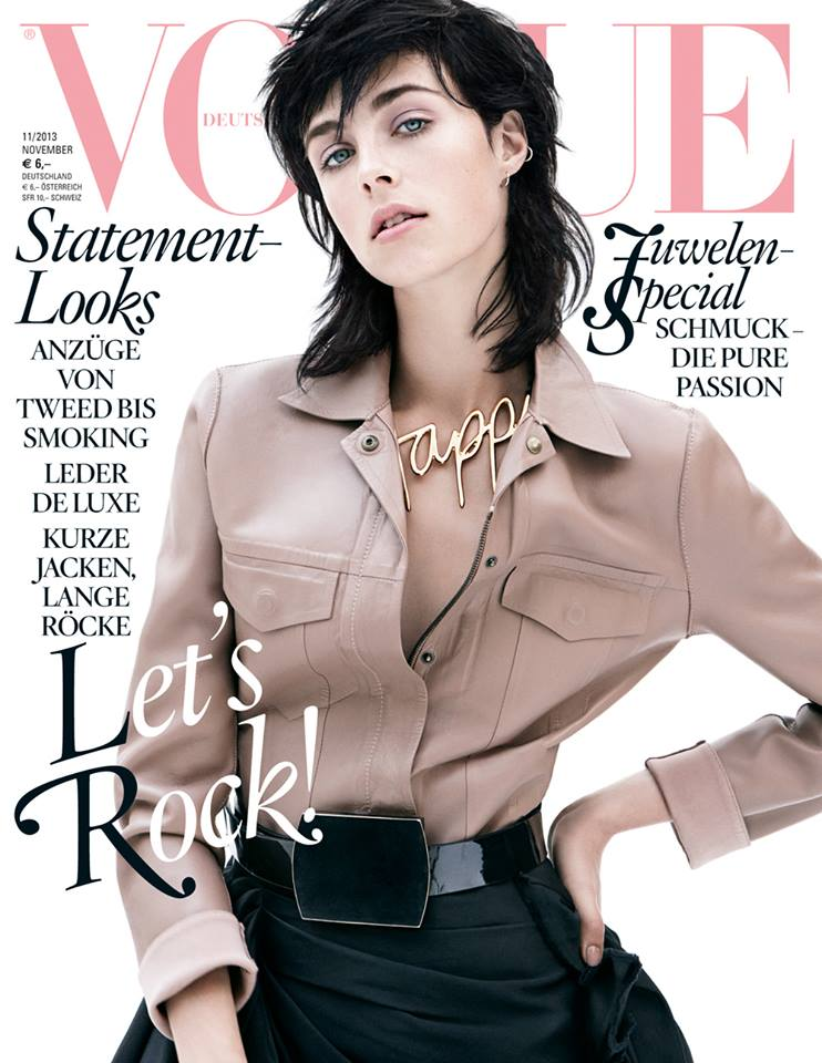 edie campbell vogue cover Edie Campbell Covers Vogue Germany November 2013 in Lanvin