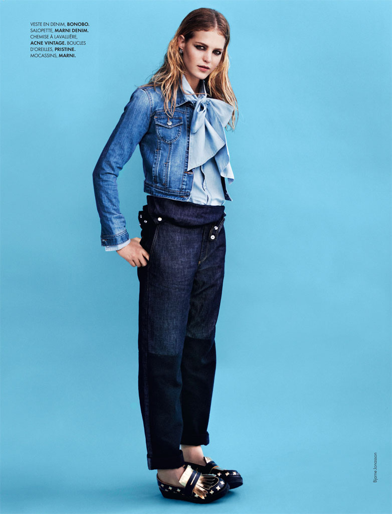 erin heatherton2 Erin Heatherton Models Denim Styles in Elle France by Bjarne Jonasson