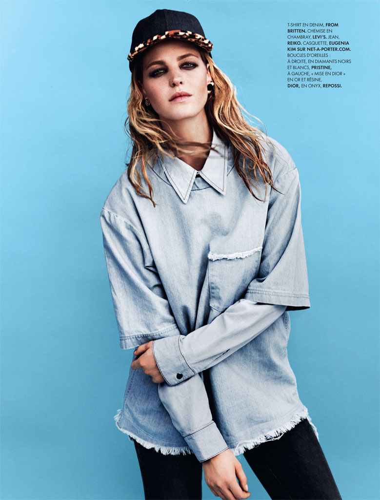 erin heatherton5 Erin Heatherton Models Denim Styles in Elle France by Bjarne Jonasson