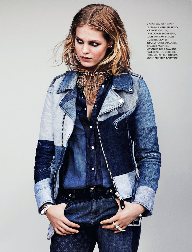 erin heatherton7 Erin Heatherton Models Denim Styles in Elle France by Bjarne Jonasson