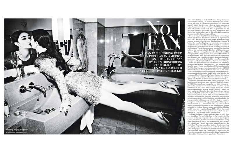 fan bing bing1 Fan Bingbing Poses for Ellen von Unwerth in W Magazine