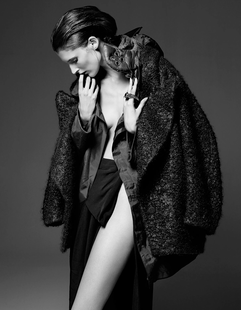 Marie Piovesan Wears Draped Style in W Korea Shoot by Gianluca Fontana