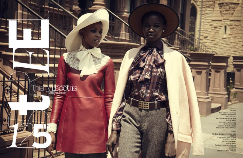 french revue harlem1 800x521 Nykhor & Flaviana Wear Retro Style in French Revue de Modes by Thierry Le Goues