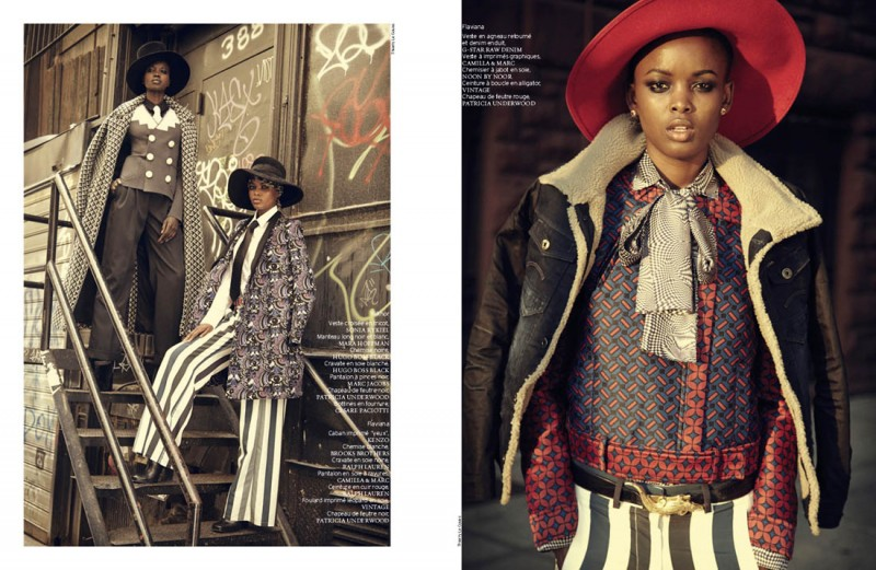 french revue harlem4 800x521 Nykhor & Flaviana Wear Retro Style in French Revue de Modes by Thierry Le Goues