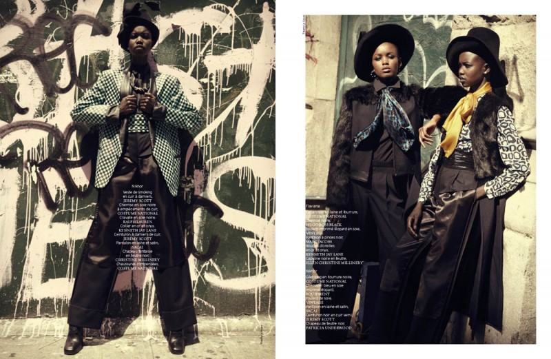 french revue harlem5 800x521 Nykhor & Flaviana Wear Retro Style in French Revue de Modes by Thierry Le Goues
