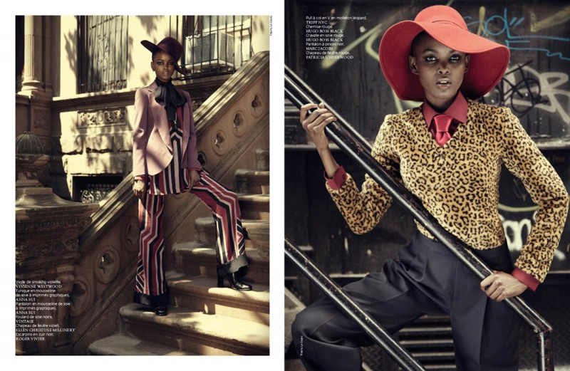 french revue harlem7 800x521 Nykhor & Flaviana Wear Retro Style in French Revue de Modes by Thierry Le Goues