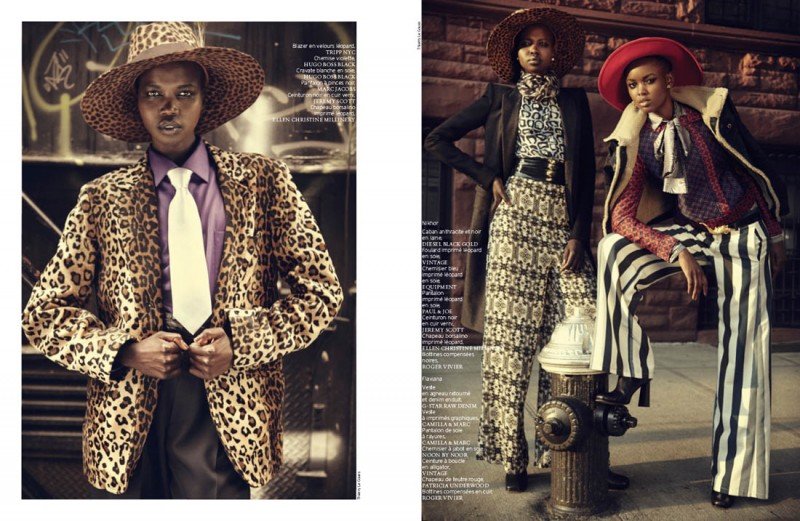 french revue harlem9 800x521 Nykhor & Flaviana Wear Retro Style in French Revue de Modes by Thierry Le Goues