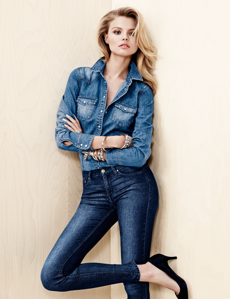 hm denim9 Magdalena Frackowiak Wears Denim on Denim for H&M Trend Update