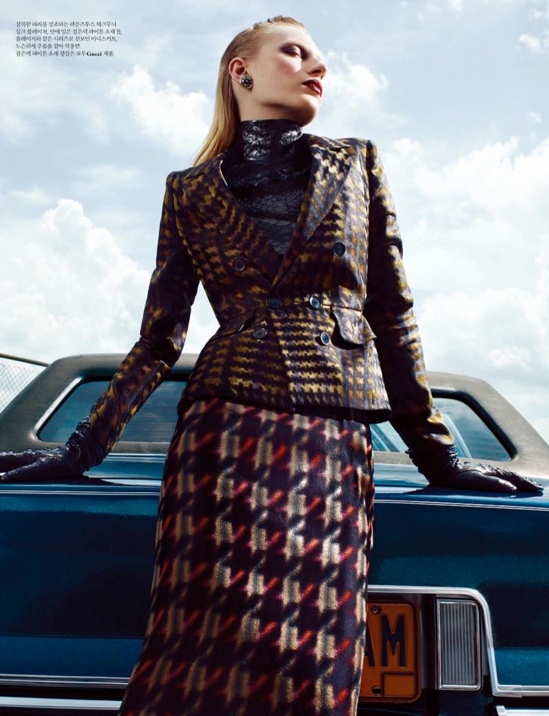 Julia Nobis Models Gucci for Santiago & Mauricio in W Korea Spread