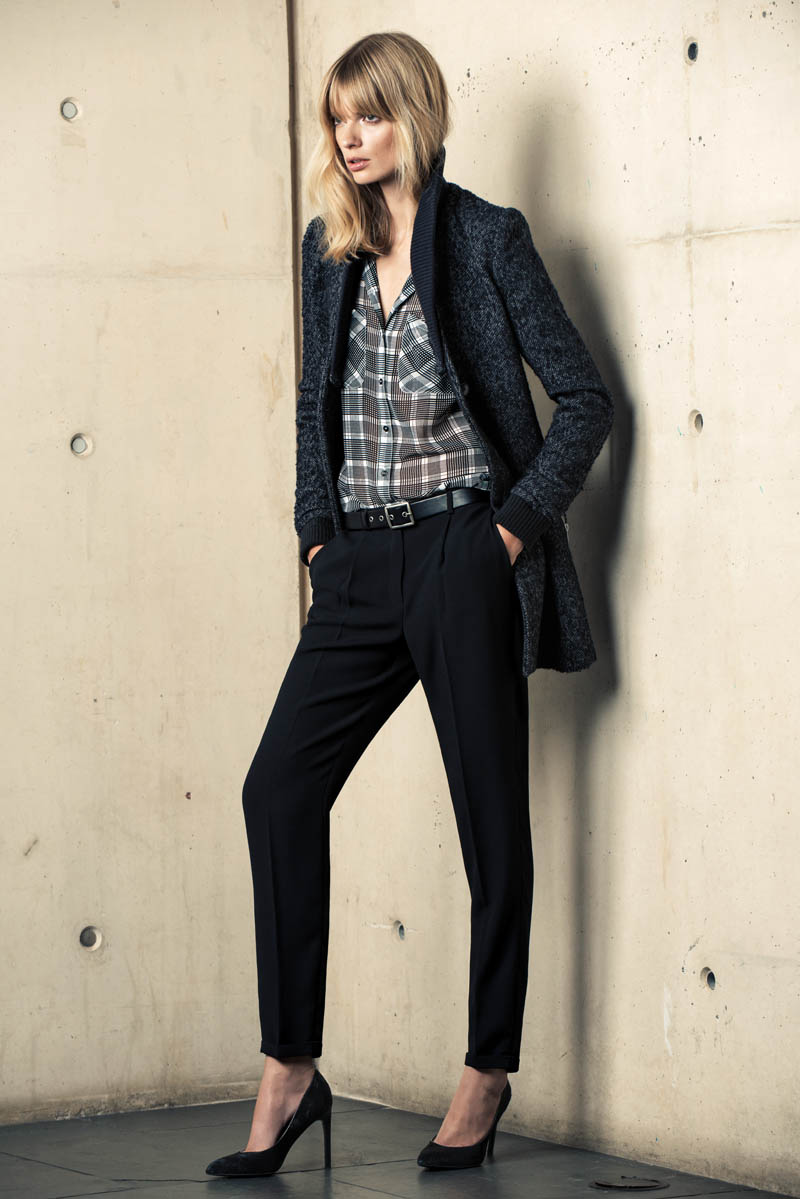 mango winter catalog1 Julia Stegner Wears the Menswear Trend for Mangos Winter Catalogue