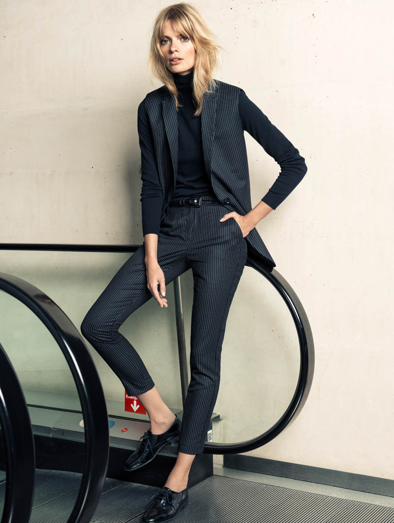 Julia Stegner Wears the Menswear Trend for Mango's Winter Catalogue